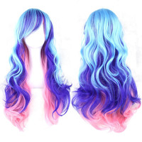 Hatsune Miku Wig Brown Long Curly Synthetic Party Cos Wigs 70cm Cosplay Wigs Hair Pad Perruque Peruca Femininas