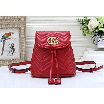 Gucci Popular Women Leather Bookbag Backpack Daypack Bag Red
