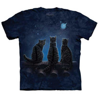 WISH UPON A STAR Cat T-Shirt Kittens On Rooftop Night Sky Space Sizes S-5XL NEW!