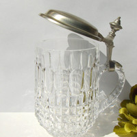Vintage Beer Stein Lead Crystal w/ Pewter Hinged Lid