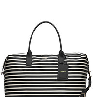 Kate Spade Classic Nylon Large Lyla Weekender Black/Clotted Cream ONE