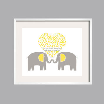 "Yellow Gray Elephant Art Nursery Decor You Are My Sunshine "" You'll never know dear"" Art Print 8x10 many colors"