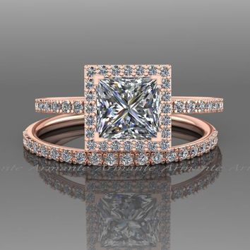 Princess Cut Wedding Ring Set, 14K Rose Gold