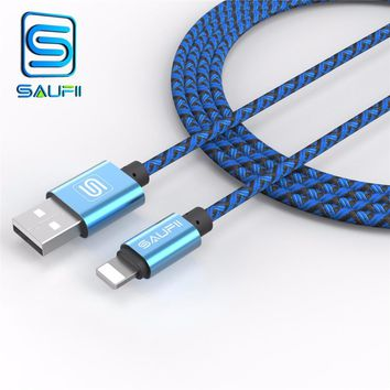 SAUFII Colourful USB 2.0 Sync Charging Data Cable for Apple iPhone 5 5C 5S 6 6+ 6S 6S+ iPad Mini iPad Flat Noodle Data Line