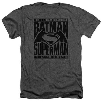 Adult Batman Vs Superman/Title Fight Heathered Short Sleeve