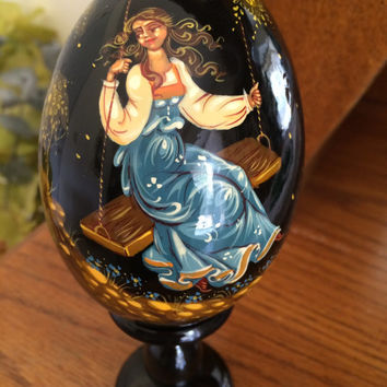 Holiday Egg Old fashion dressed girl traditional art painted curved made by hand collectible decorative souvenir holiday birthday gift wood