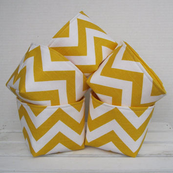 Mini Fabric Storage Organizer Bins Baskets - Yellow / White Chevron - Set of 5