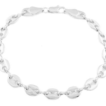 2 Pieces of Silvertone 7mm 8 Inch Pig Nose Chain Bracelet