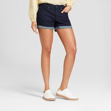 Women's Mid-Rise Midi Jean Shorts - Universal Thread™ Dark Wash