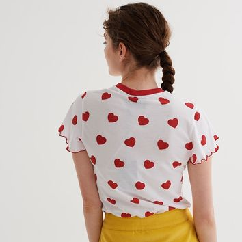 Lazy Oaf Red Hearts T-shirt - Clothing - New In - Womens