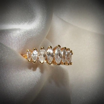 Vintage Marquise Cut 9-Stone Band Ring, 1.25-Carats, 14k Yellow Gold Vermeil, Wedding or Anniversary Band, Eco Friendly CZ