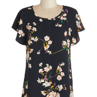 ModCloth Mid-length Short Sleeves Peppy Positivity Top in Black