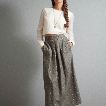 Midi Skirt, high waist skirt, geese pattern skirt, khaki skirt, mid calf, pleated skirt