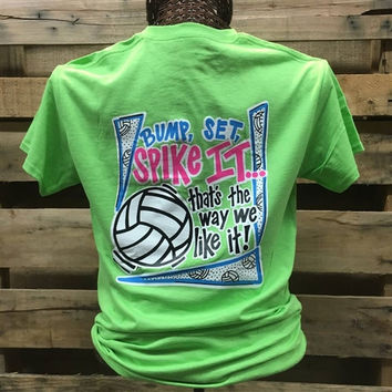 Southern Chics Funny Bump Spike Volleyball Lime Girlie Bright T Shirt