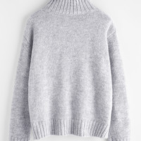 Marled Knit Stepped Hem Jumper -SheIn(Sheinside)