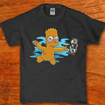 Bart flying in the air naked funny Men's t-shirt