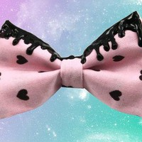 Black Heart & Pink Fairy Kei Melty Black Goo Hair Bow Pastel Goth Style