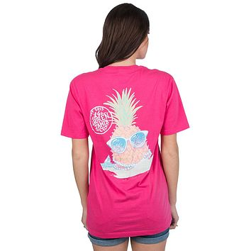Preppy Pineapple Tee in Raspberry by Lauren James