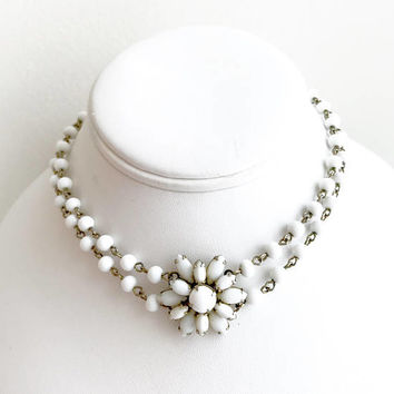Milk Glass Flower Necklace, Double Strand Beaded Choker, Mid Century, Gold Tone, Adjustable, Bridal Necklace, 1960s, Vintage Gift For Her