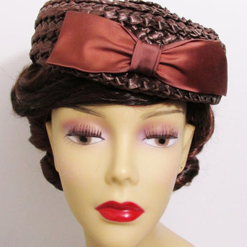 Vintage Hat: Betmar Brown Straw Pillbox with Bow