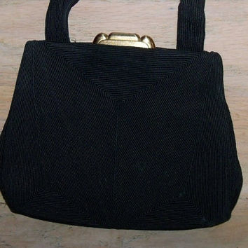 Vintage Corde Black Purse Handbag Evening Opera Gift for Her