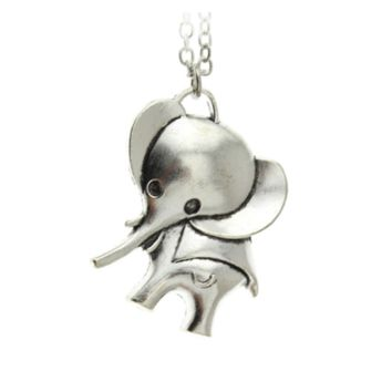 Vintage Silver Tone Elephant Pendent Long Necklace for Women