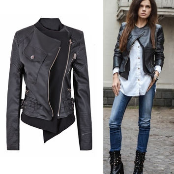 SUNFASHION Women's Fashion Hot Cheap Sale Black Zipper Embellished Faux Leather Biker Jacket = 1929686404