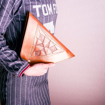 Genuine leather triangle hand bag with hand tooled triangle design / leather bag / handbag / leather clutch / leather purse / leather wallet