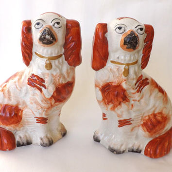 Antique Staffordshire Dogs / Victorian Staffordshire Figurine / Staffordshire Spaniel / Hearth Dogs / Small Red Mantle Dogs / Fireplace Dogs