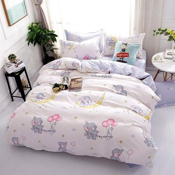 Cool Elephant bedding sets 100% Polyester 4pcs Bedlinen Twin Double full Queen king caetoon white duvet cover flat sheet pillowcaseAT_93_12