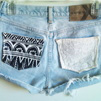 Customize Studded Tribal & Lace Pocket High Waisted Shorts Free Shipping