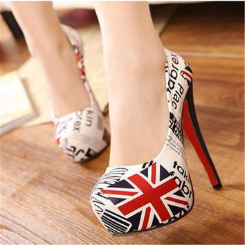 Platform Italian Shoe And Bag Set For Party In Women Fashion Shoes 2015 Kitten Heels Pointed Toe American Flag Pattern