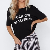 Fuck Off I'm Sleeping Tee and Shorts Pajama Set