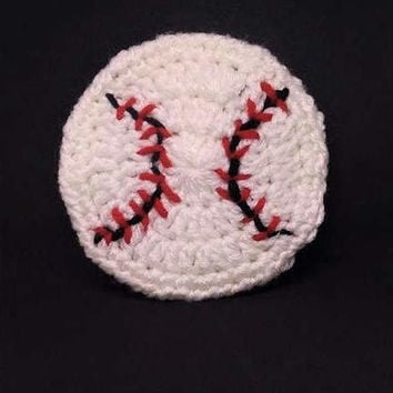 Crochet Baseball Coasters Set of 4, Crochet Baseball, Coaster Set, Crochet Home Decor, Sports Gift, Crochet Coaster, Baseball Decor