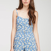 Rose Print Denim Romper