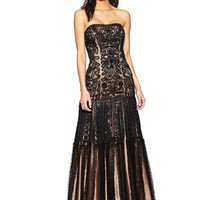 SUE WONG Black/Nude Strapless Gown with Full Sheer Overlay Skirt