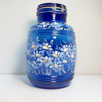 Blue Glass Jar, Cracker Jar, Storage Jar, Canister Jar, Three Gallon Jar, Hand Painted Jar. Scandinavian Style Design, Folk Art Style