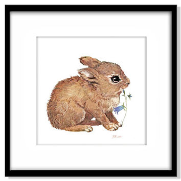 Baby Rabbit Instant Download, Nursery Art, Rabbit and Flower, Children's Illustration, Kids Wall Art, Neutral Colour