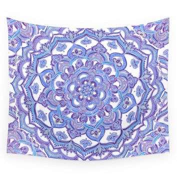Society6 Lilac Spring Mandala Floral Doodle Patte Wall Tapestry