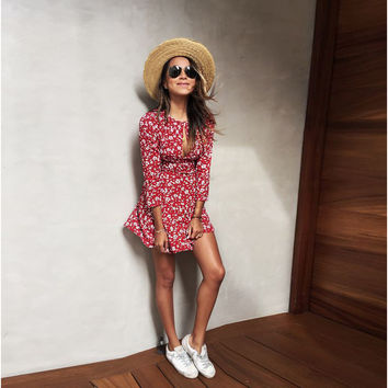 Long Sleeve Slim Floral One Piece Dress