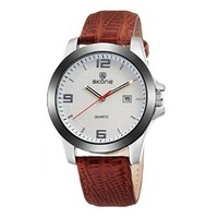 Men's Casual Round Dial Faux Leather Strap Calendar Wrist Watch Brown