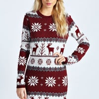 Meg Multi Reindeer Snowflake Knit Dress