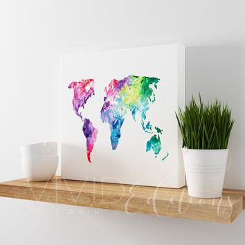 Watercolor World Map Gallery Wrapped Canvas