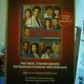 Grey's Anatomy Season 3 Poster 27x40 Used