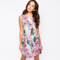 Peach Sleeveless Printed Loose Mini Dress