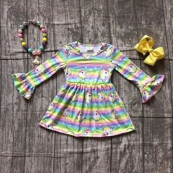 baby kids Fall / Autumn dress girls unicorn dress baby girls unicorn rainbow stripes dress boutique party dress with accessories