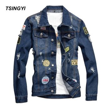Trendy Tsingyi Vintage Destroy Wash Hole and DIY Badge Denim Jacket Men Slim Fit Turn-down Collar Long Sleeve Denim Bomber Mens Coats AT_94_13