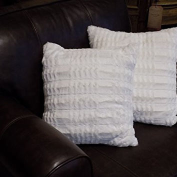 Set of 2 Faux Fur Pillow Covers Soft and Cozy Fit Standard 18 X 18 Inserts (white)