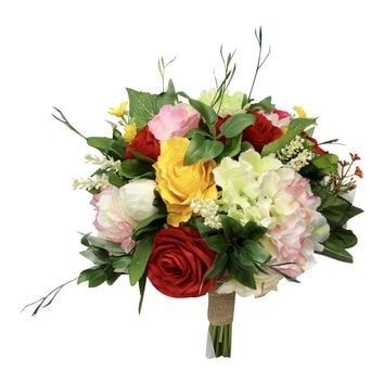Rustic Wild Bouquet - Shades of Pink, Red, Yellow, and Green Artificial Bouquet with Burlap Handle