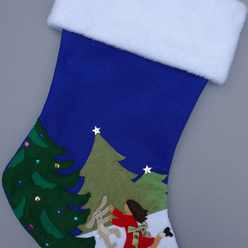 "Felt Christmas Stocking: ""Dance Like No One's Watching"" Little Girl"